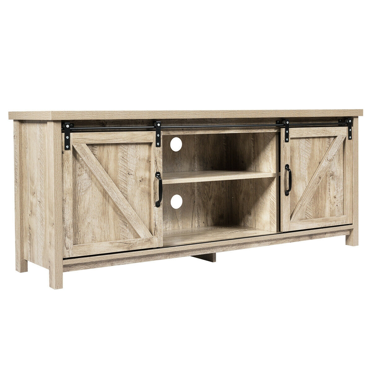 TV Stand with Cabinet Sliding Barn Door -Golden