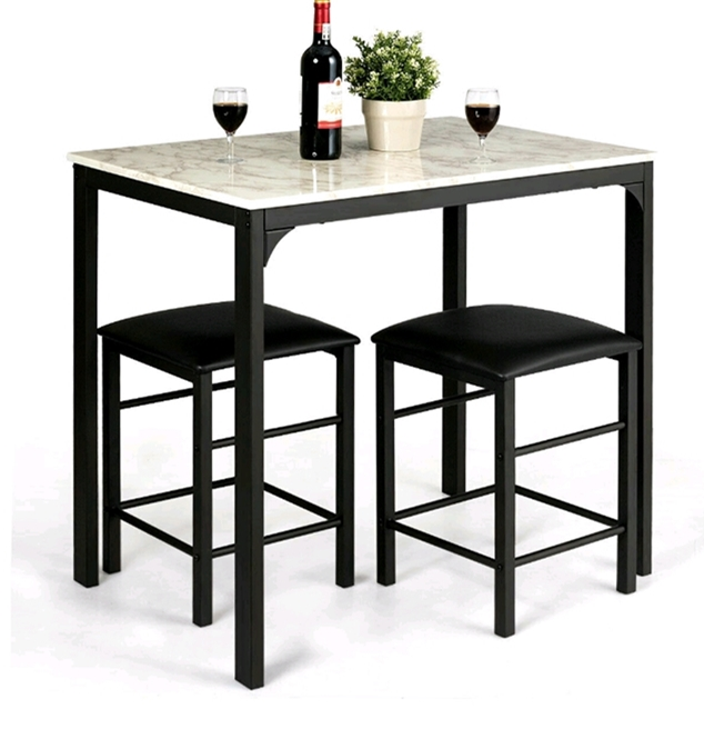 3 Piece Counter Height Dining Set Faux Marble Table